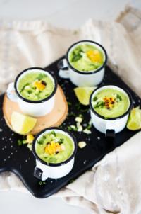 Sopa fria de aguacate y pepino