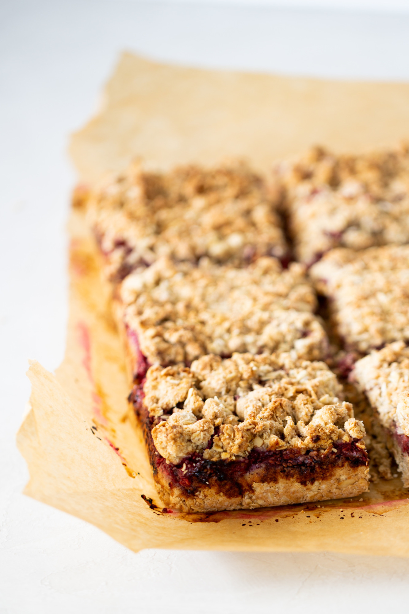 barritas de avena y frambuesa, Oat bars with berry chia jam