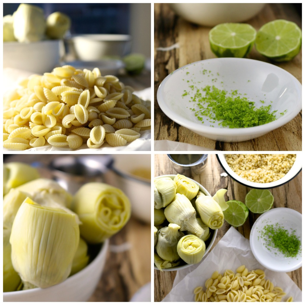 ingredientes para hacer Pasta con alcachofas