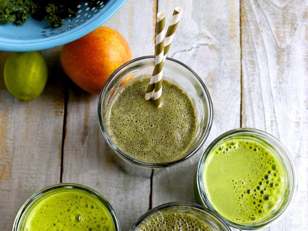 Smoothie y jugo verde