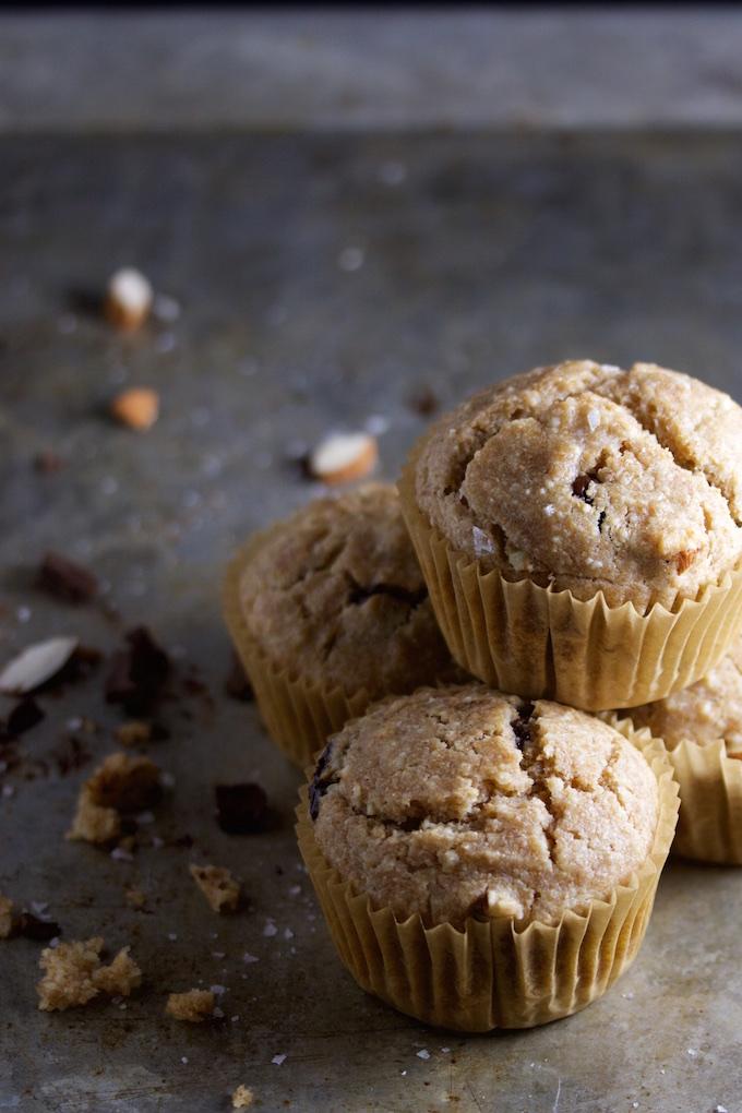 Muffins de chocolate, almendra y sal maldon