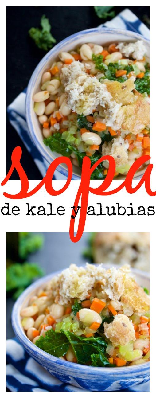 Receta de sopa de alubias con kale y pan. Vegana, deliciosa y fácil de preparar.