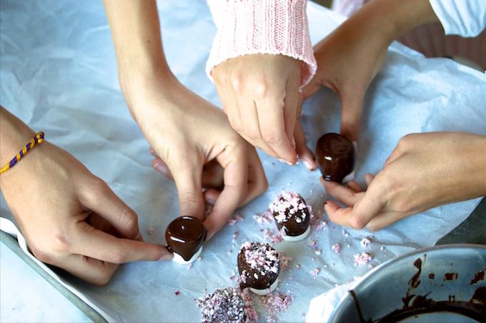 Bombones con chocolate.P&V