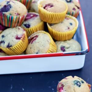 Muffins con berries sin azúcar.