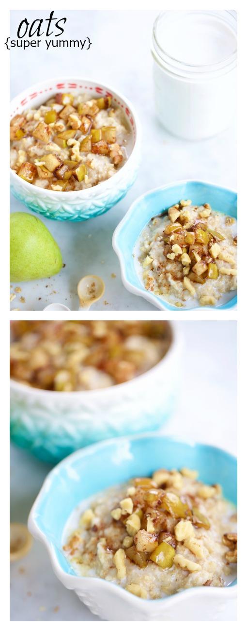 Perfecta idea para darle a mi desayuno un super cambio. Bowl de avena y amaranto con peras caramelizadas,es bien r[apido de hacer también.