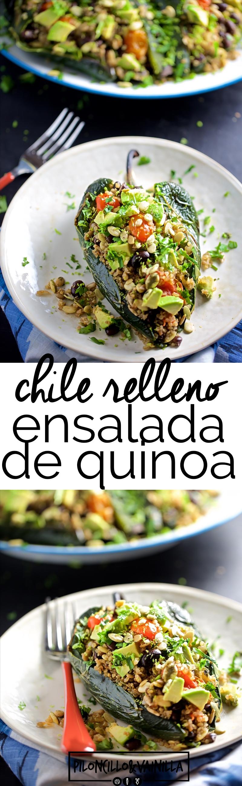Esta receta de chiles rellenos de ensalada de quinoa y frijol negro con tomates cherry rostizados y semillas de girasol es una verdadera delicia. Es una receta fáciles, rápida y con sabor a comida mexicana, mexicana vegana.