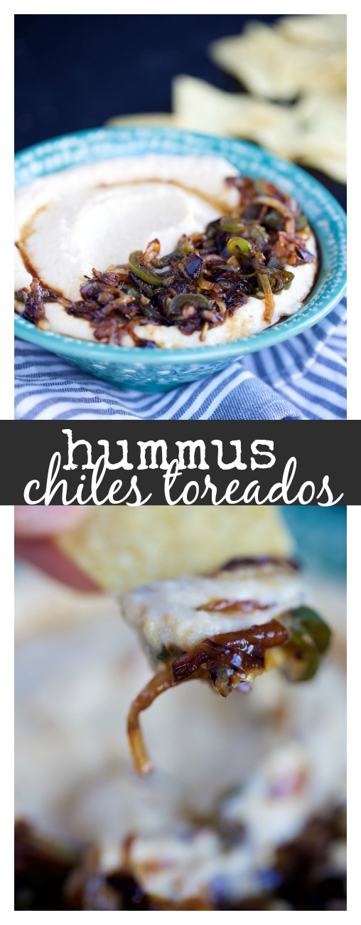 Hummus con chiles toreados, un hummus con sabor a Mexico. Recipe in Spanish and English.