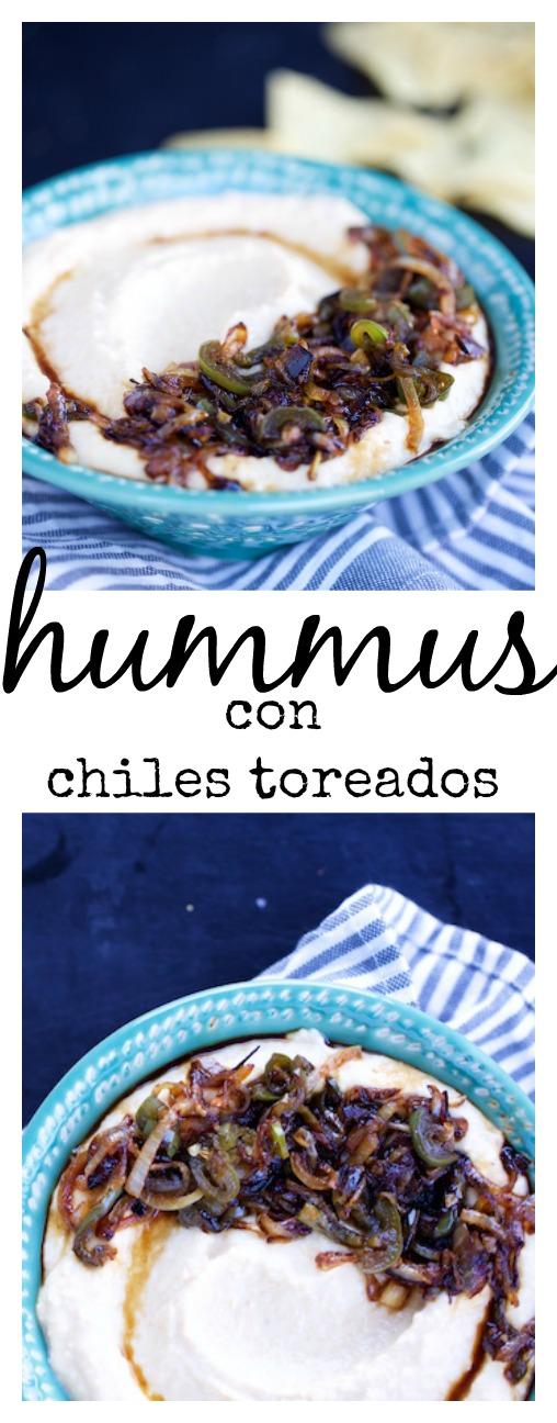 REceta de hummus con chiles toreados, lo máximo.