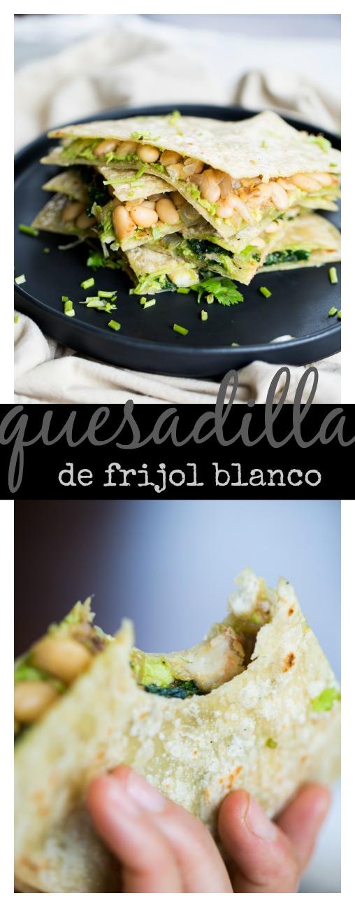 Quesadillas veganas, de frijol blanco y kale. Con aguacate y en tortillas sin gluten. Deliciosas!!!