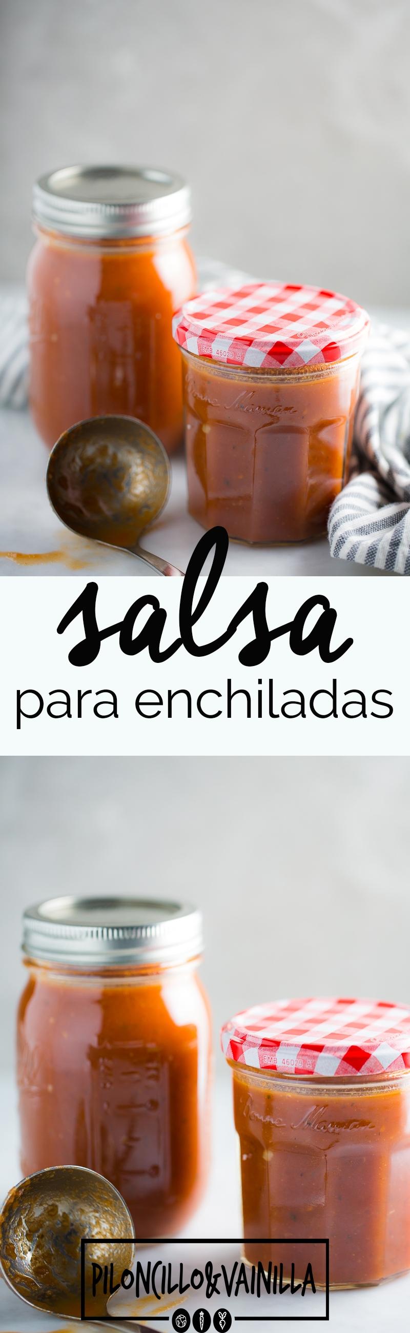 Salsa para enchiladas, perfecta para hacer cualquier receta mexicana deliciosa y auténtica.