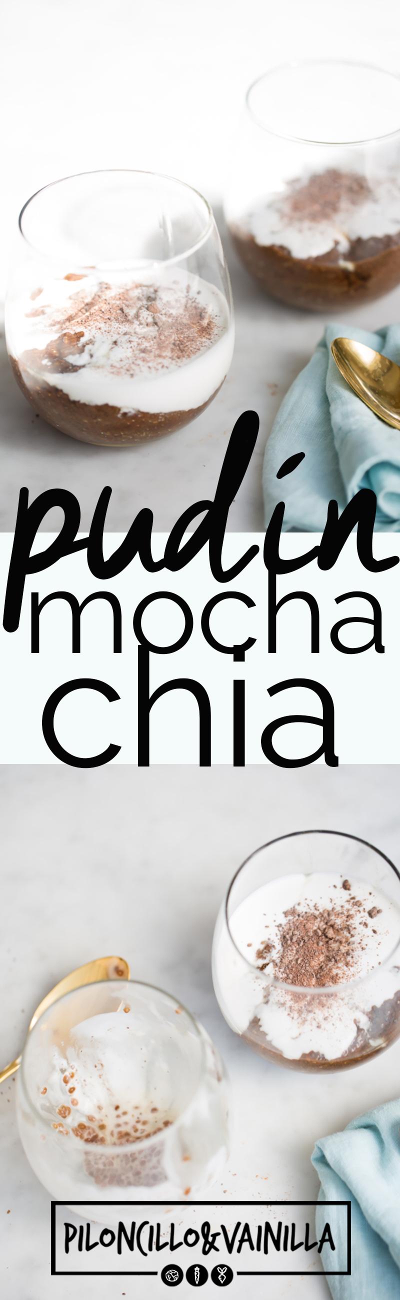 Esta receta pudín mocha-chia lleva sólo cinco ingredientes y es como tomarte un mocha frappuccino pero sano. Puede ser postre o desayuno, tu decides. #receta, #cafe, #chocolate, #recetavegana, #recetasaludable
