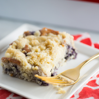 Receta de coffee cake de blueberries, vegan, vegano.