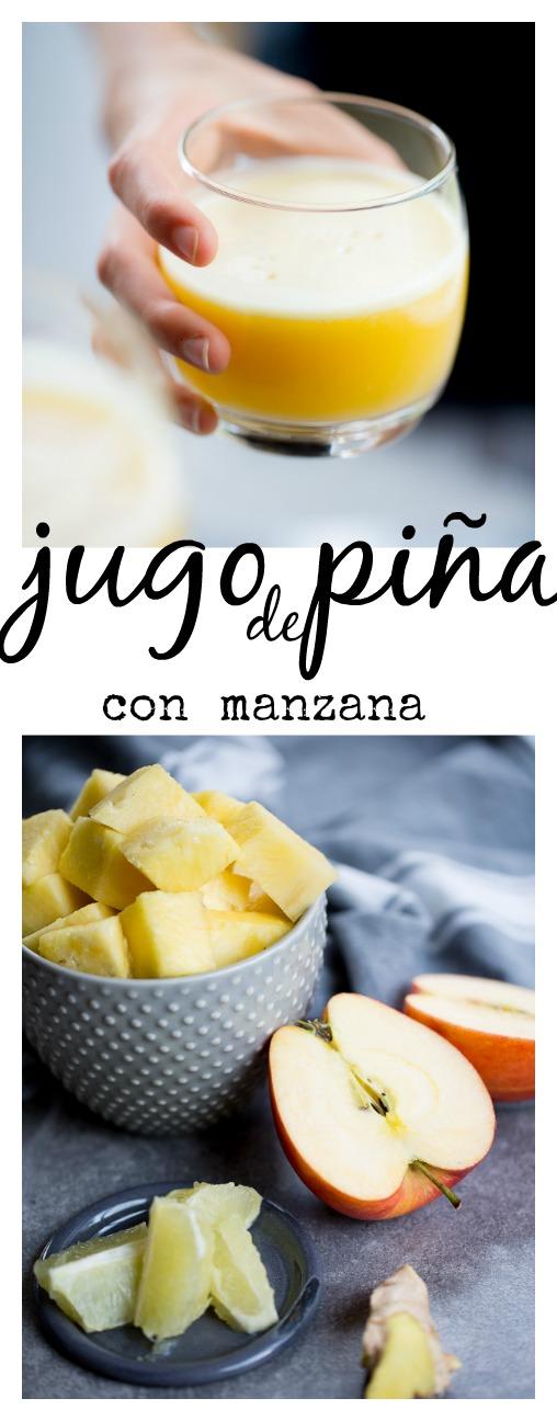 Receta de jugo de piña con poderes. Lleva manzana, jengibre y limón. Un jugo perfecto para prevenir gripas y refriados durante el invierno.