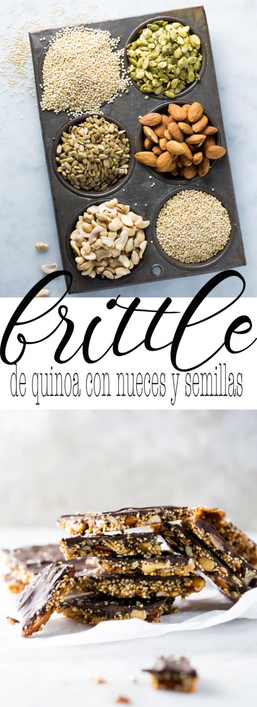 Receta de brittle de quinoa con nueces, semillas y chocolate obscuro., un dulce vegano delicioso.Vegan quinoa brittle.