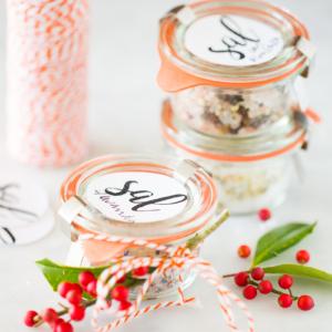 Idea de regalo para Navidad, sal con sabores diferentes.