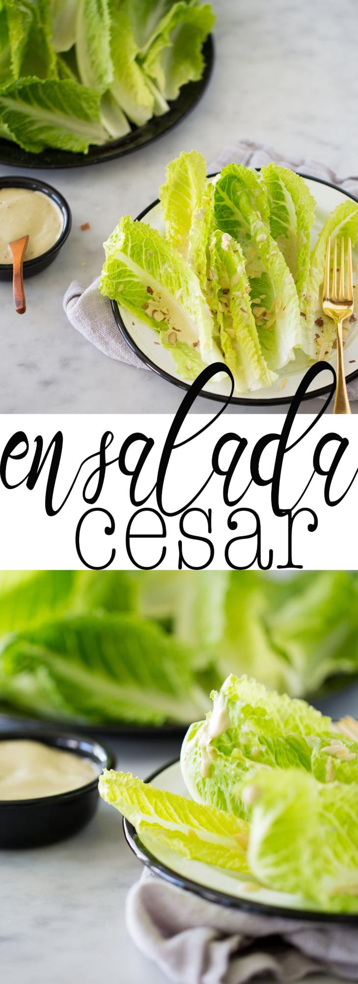 REceta de ensalada cesar vegana, el aderezo está hecho con almendras, alcaparras y jugo de lión, entre otros ingredientes.