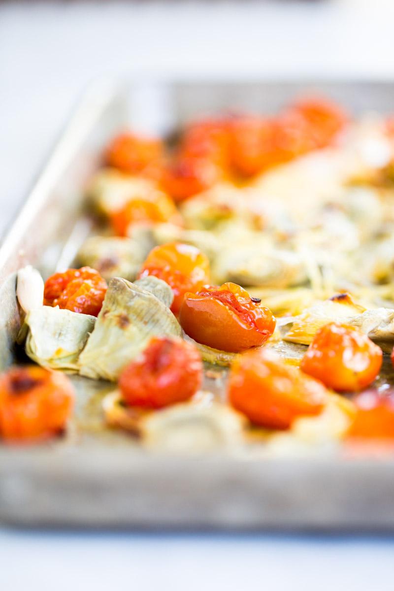 Pasta con verduras asadas, receta vegana, fácil y deliciosa.