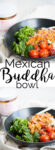 The Mexican Buddha bowl is a bowl with rice, sautéed green leaves, roasted vegetables and chickpeas in a creamy sauce of Oaxacan mole Coloradito.