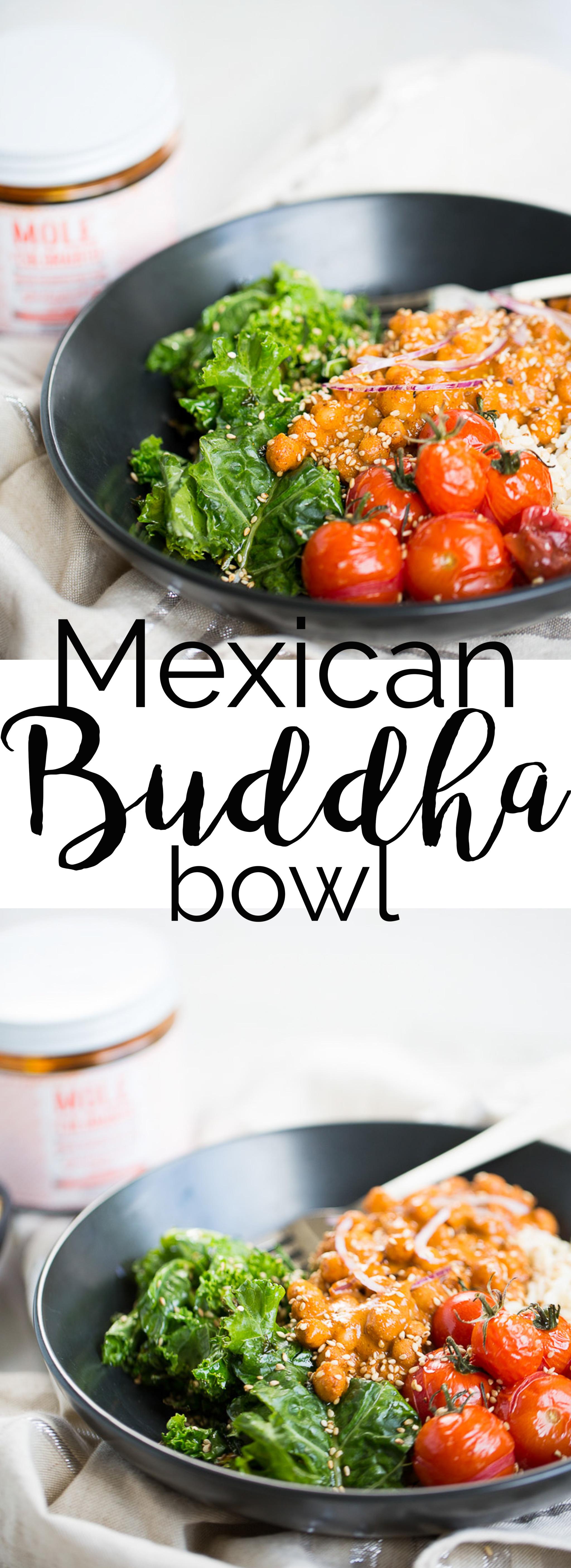 Esta receta para hacer un buddha bowl mexicano con arroz integral, verduras salteadas y garbanzos en salsa de mole coloradito es fácil,deliciosa y nutritiva.