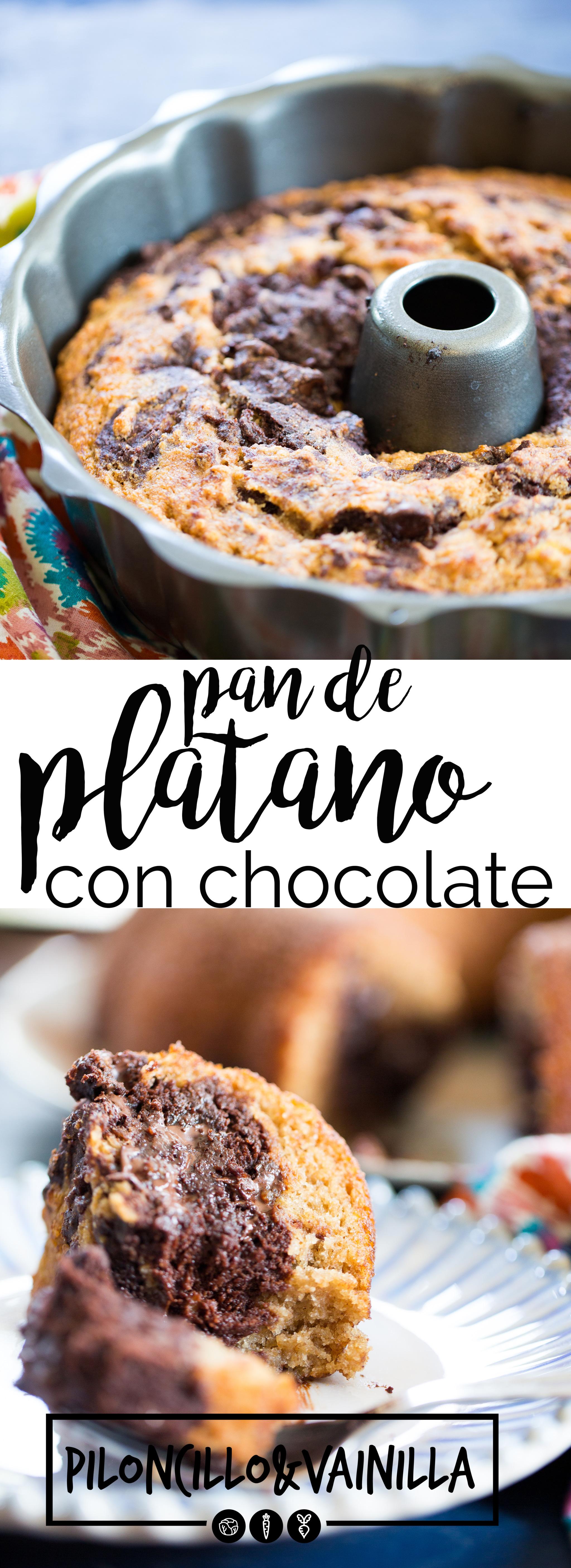 Receta de pan plátano con chocolate marmoleado. Receta vegana hecha con ingredientes naturales y super limpios. Receta fácil y saludable. #panvegano, #recetaesespañol, #recetavegana