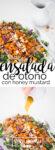 Receta de ensalada de otoño con aderezo honey-mustard vegano.