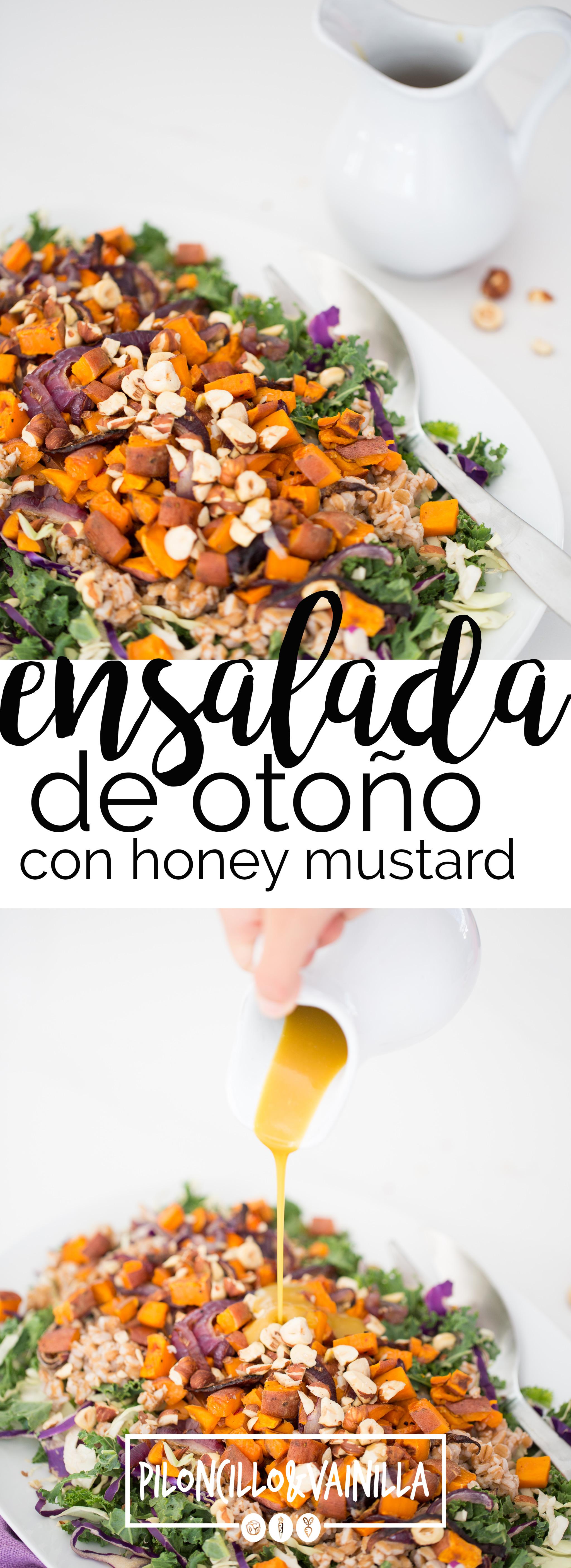 Esta receta de ensalada de otoño con aderezo honey-mustard vegano es la única receta de ensalada que necesitas para este otoño, pruébala.