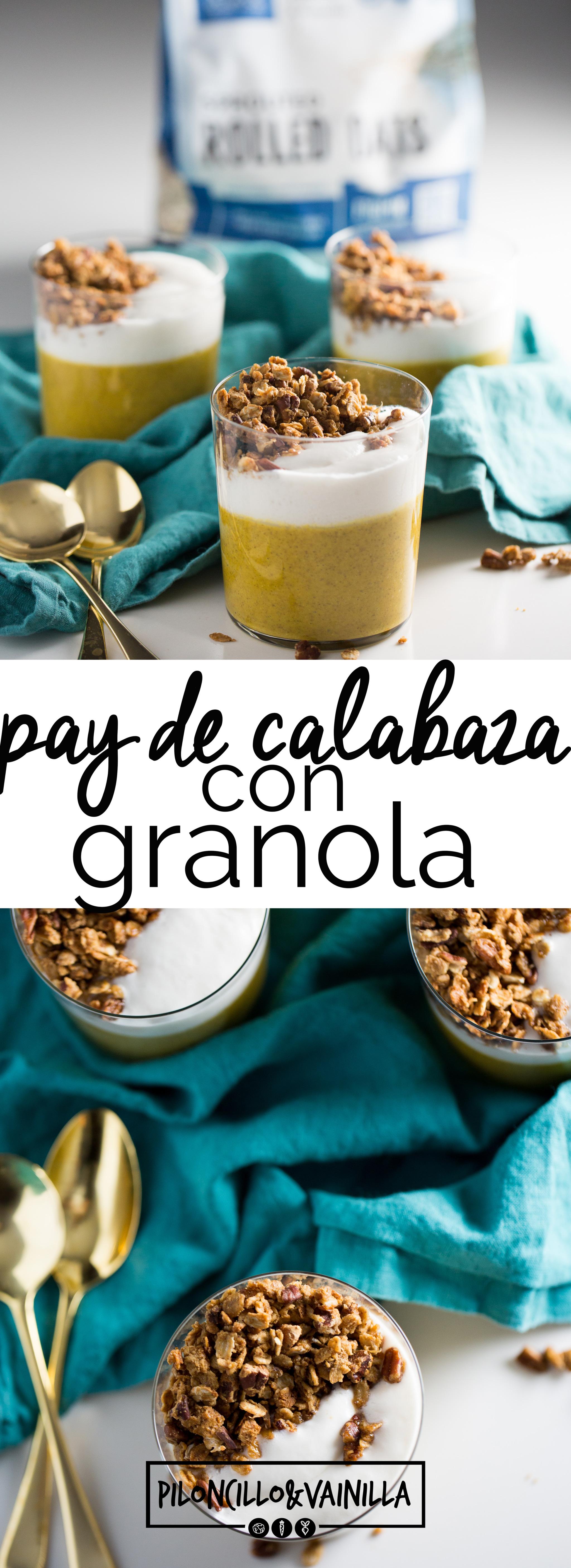 Esta receta de pay de calabaza #vegano con granola y crema de coco es super fácil de hacer y deliciosa, cremosa y adictiva.