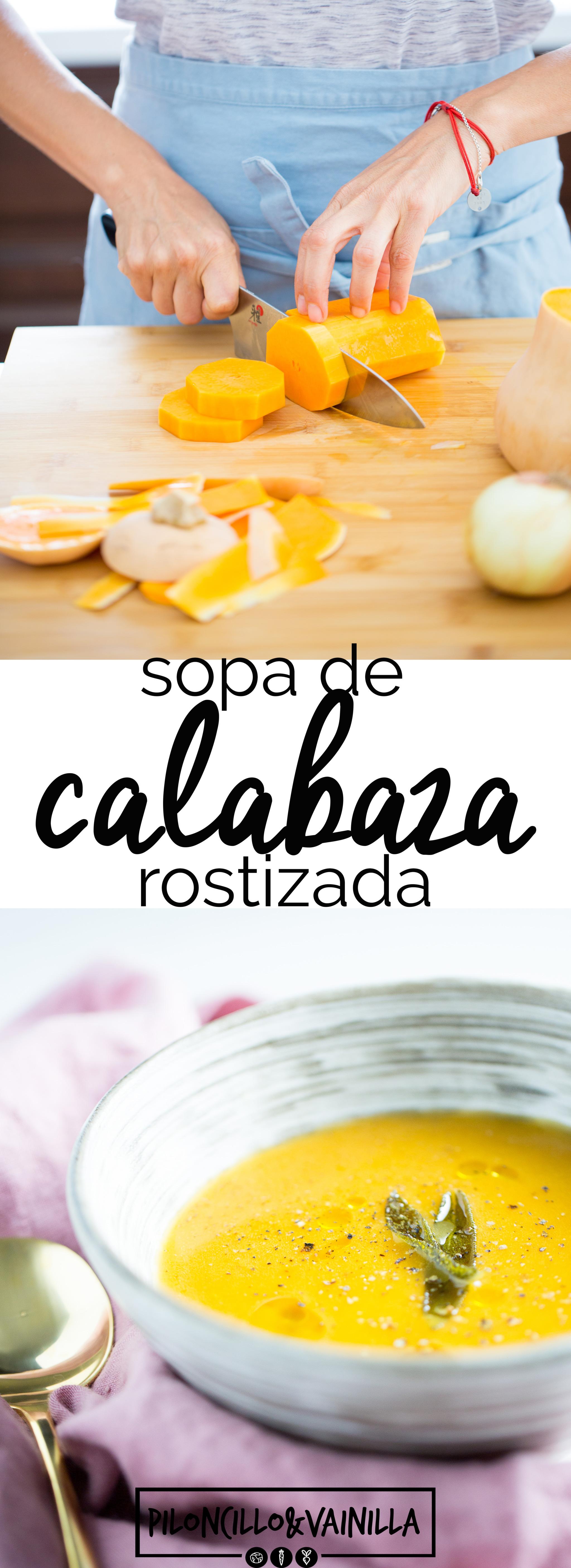 Sopa de calabaza rostizada lista en dos simples pasos, rostizar y licuar. Esta sopa es perfecta para cualquier día de otoño o Thanksgiving.