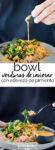 Receta de un bowl delicioso de verduras rostizadas. Receta vegana, receta en español,receta vegetariana.