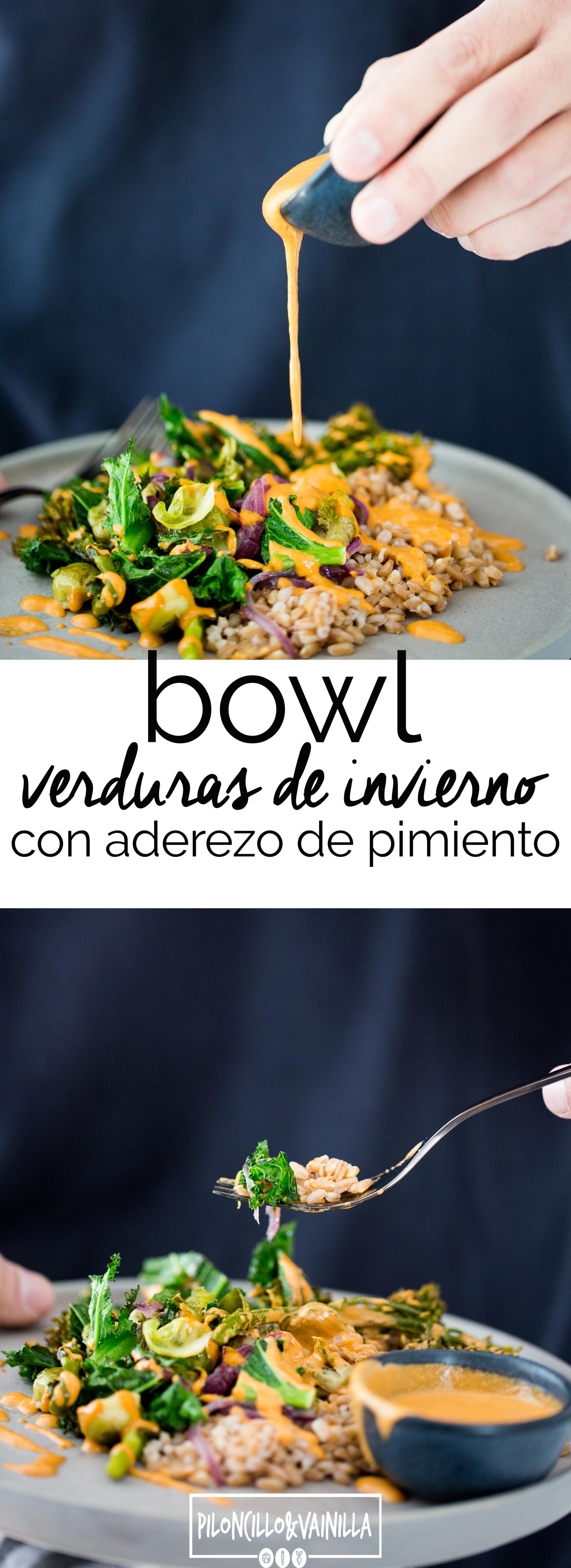 Receta de verduras de invierno rostizadas  con aderezo de pimiento rojo y granos ancestrales.Receta de un bowl delicioso de verduras rostizadas. Receta vegana, receta en español,receta vegetariana.