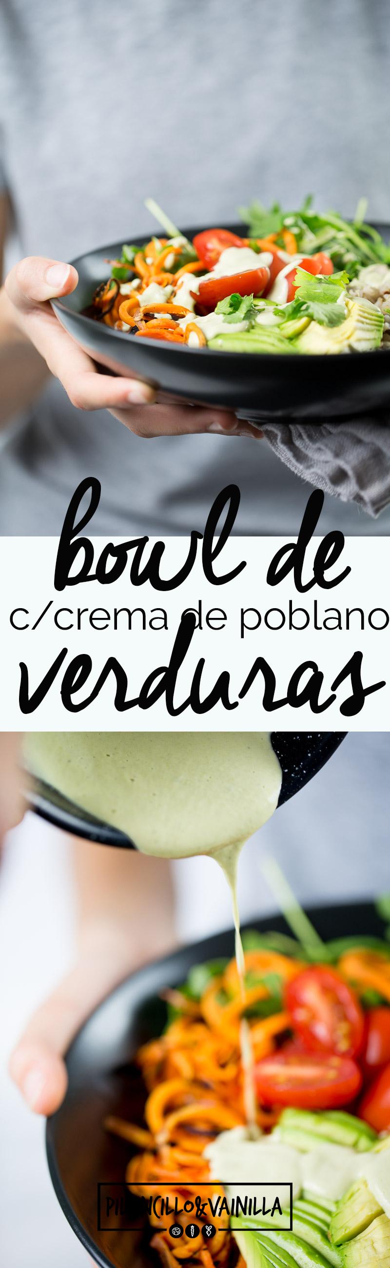 Bowl de verduras y arroz con crema de chile poblano vegana es de platillos que puedes hacer en un ratito, el chiste es poner en un bowl todas las verduras que te gusten, arroz y si quieres frijoles y terminas con la cremita deliciosa. #vegan, #veganmexican