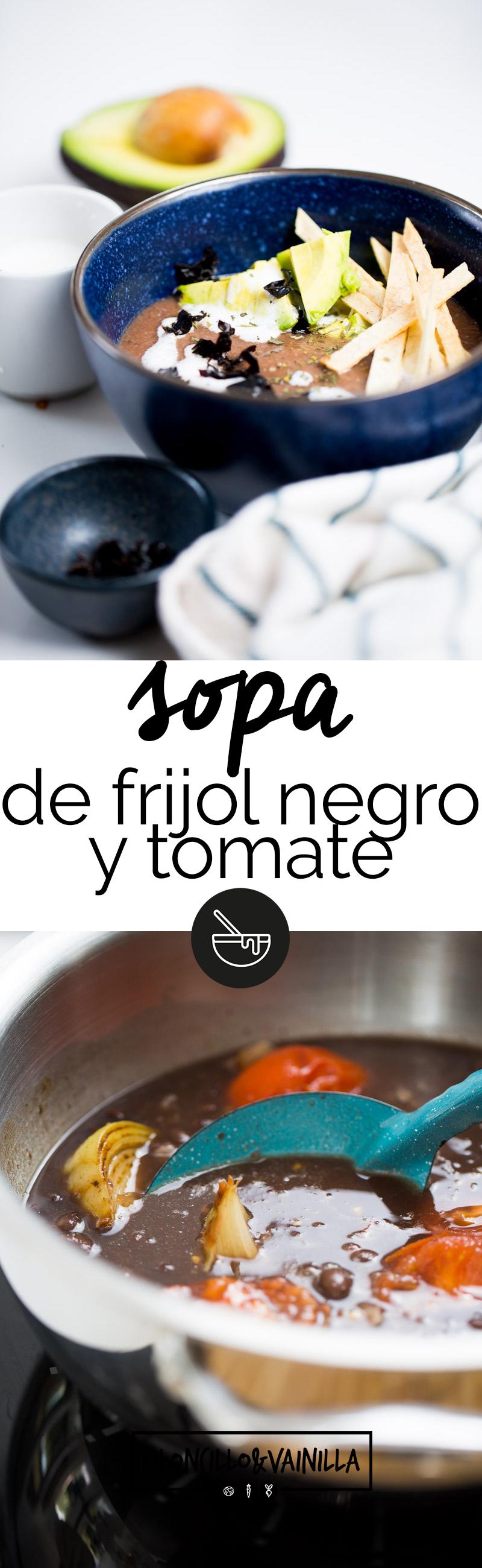 Esta sopa de frijol negro y tomate es perfecta cuando se te antoje una sopa pesada o para una cena rápida. Es muy fácil de hacer, llenadora y nutritiva. #recetaenespañol, #vegana, #sopavegana