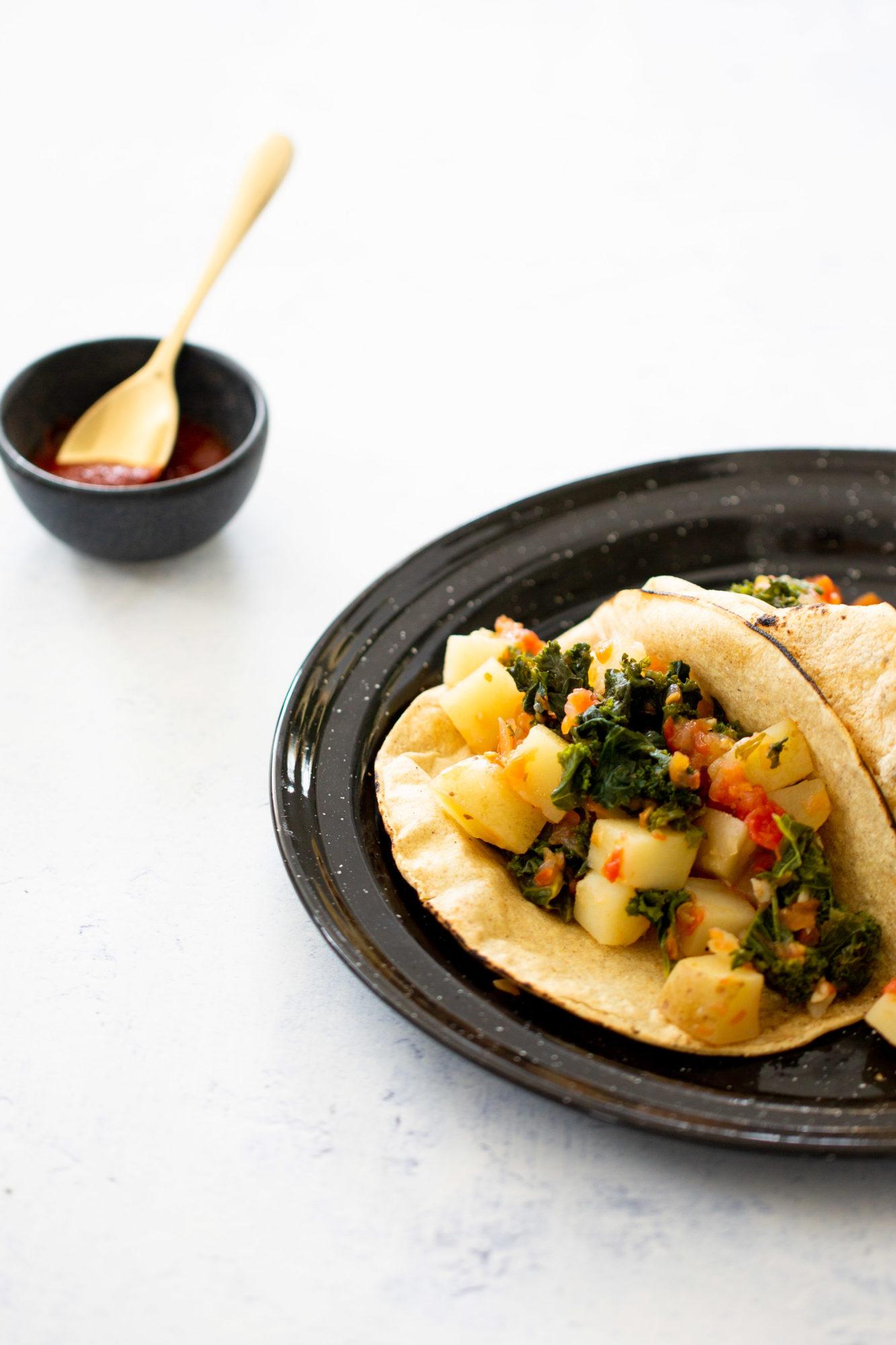 tacos de kale y papa