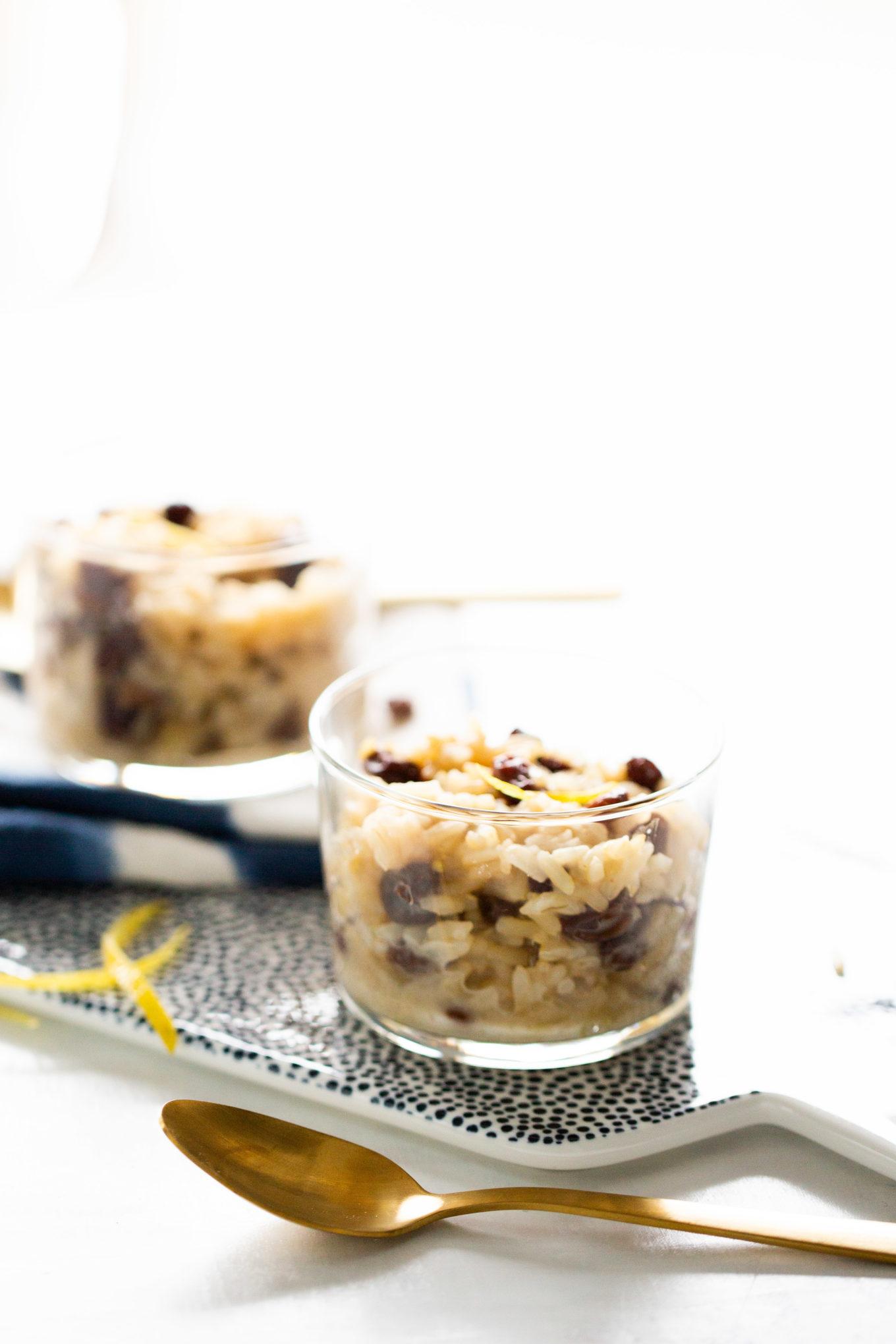 arroz con leche vegano, está hecho con leche de coco