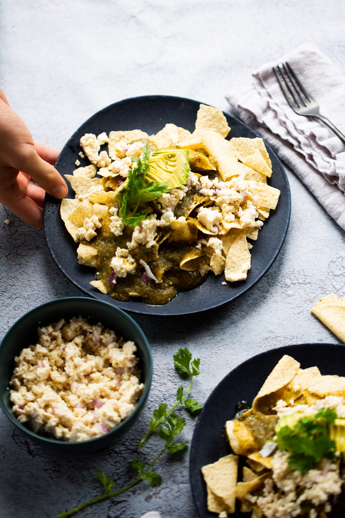 vegan chilaquiles with tomatillo sauce