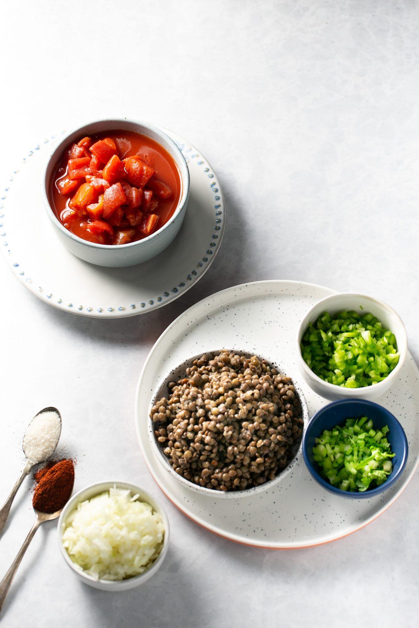 Ingredientes para hacer sloppy joes veganos