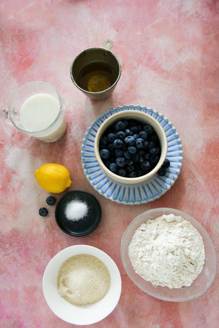 Ingredientes para hacer un coffee cake vegano